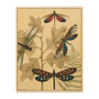Impresión En Madera Libélulas coloridas que flotan sobre las hojas