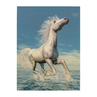 Impresión En Madera Libertad del caballo blanco - 3D rinden