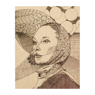 Impresión En Madera Line Art illustration of a lady with scarf
