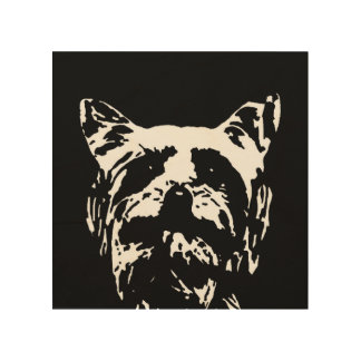 """Impresión En Madera Madera 8"""" de la plantilla de Yorkshire Terrier"""""""