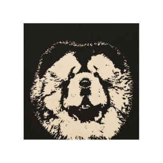 """Impresión En Madera Madera 8"""" de la plantilla del perro chino de perro"""