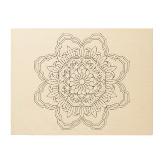 Impresión En Madera Mandala de la flor. Elementos decorativos del