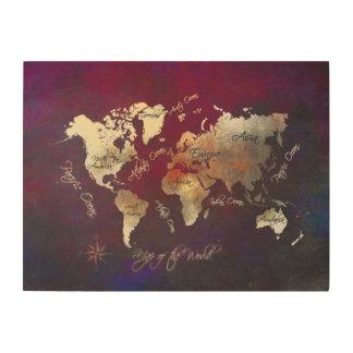 Impresión En Madera mapa de la madera del mundo