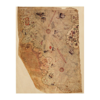 Impresión En Madera Mapa del mundo de Piri Reis
