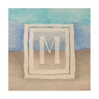 Impresión En Madera Mar del monograma de la acuarela y azul y moreno