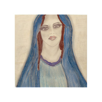 Impresión En Madera Maria en azul
