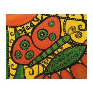 Impresión En Madera Mariposa abstracta anaranjada del verde amarillo