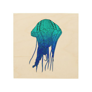 Impresión En Madera Medusas tribales
