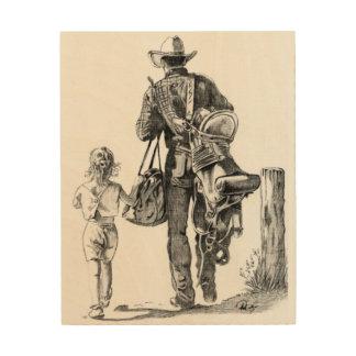Impresión En Madera Mi papá es vaquero