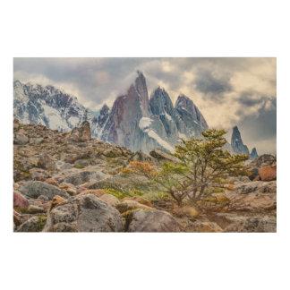 Impresión En Madera Montañas Nevado en el EL Chalten Argenti de Laguna
