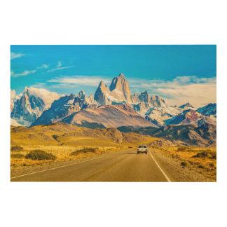 Impresión En Madera Montañas Nevado los Andes, EL Chalten, la