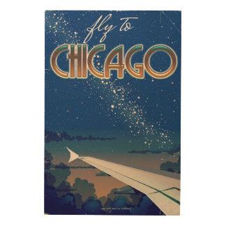 Impresión En Madera Mosca a Chicago