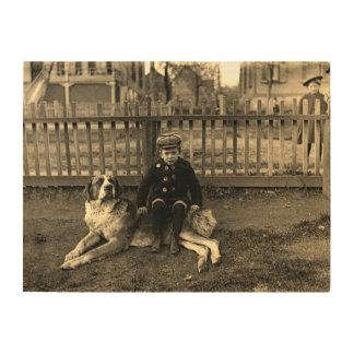 Impresión En Madera muchacho de los 1890's que se sienta en la