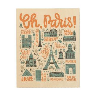 Impresión En Madera ¡Oh, París! tipografía de la ciudad del |
