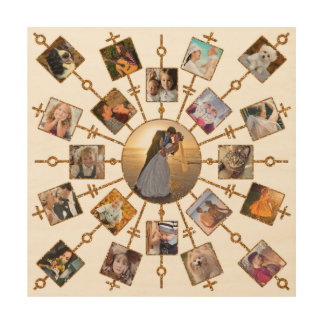 Impresión En Madera Oro blanco bonito de las imágenes del collage 21