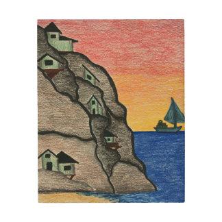 Impresión En Madera Paisaje marino colorido del pueblo del muelle del