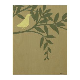 Impresión En Madera Pájaro verde encaramado en rama verde