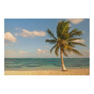 Impresión En Madera Palmera y playa