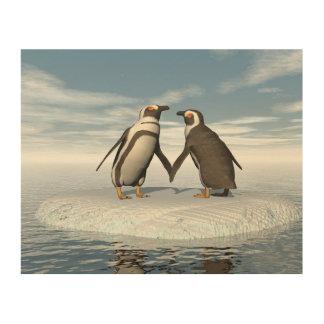 Impresión En Madera Pares de los pingüinos