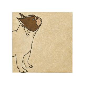 Impresión En Madera Perfil del dogo francés que mira para arriba