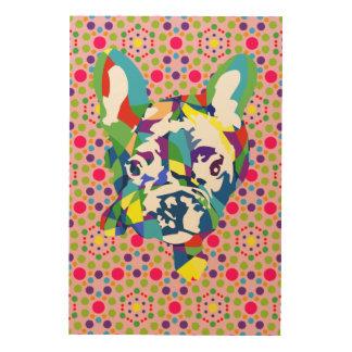 Impresión En Madera Perrito moderno lindo del dogo francés