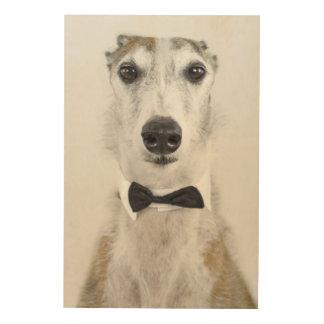Impresión En Madera Perro gris vestido para arriba