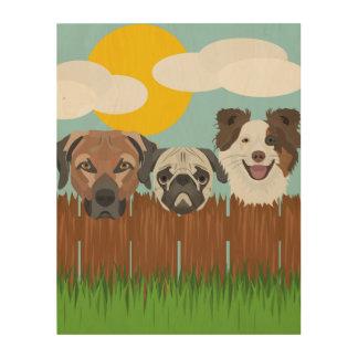 Impresión En Madera Perros afortunados del ilustracion en una cerca de