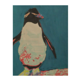 Impresión En Madera Pingüino