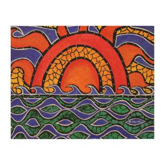 Impresión En Madera Pintura colorida del océano del extracto de la