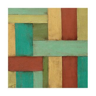 Impresión En Madera Pintura multicolora costera de Contempoary