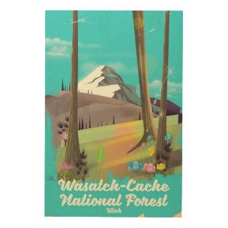 Impresión En Madera Poster de las vacaciones de Utah del bosque del