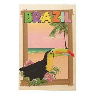 Impresión En Madera Poster del día de fiesta de la playa del Brasil