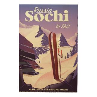 Impresión En Madera Poster del viaje del esquí de Sochi Rusia