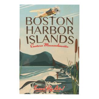 Impresión En Madera Poster del vuelo de Massachusetts del puerto de