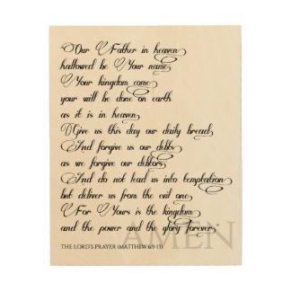 Impresión En Madera Prayer del señor en la madera