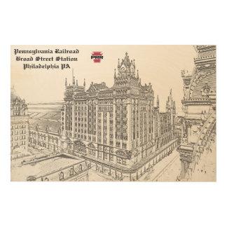 Impresión En Madera PRR que dibuja la estación de la calle amplia