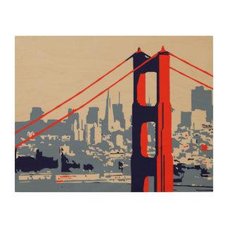 Impresión En Madera Puente Golden Gate y horizonte San Francisco