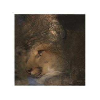 Impresión En Madera Puma salvaje del león de montaña de la silueta del