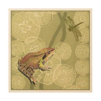 Impresión En Madera Rana y libélula en lirios de agua