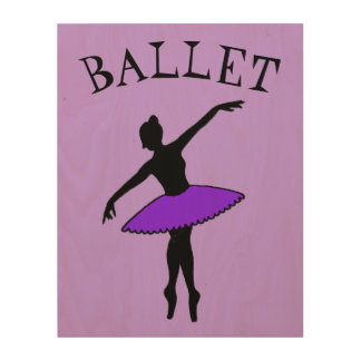 Impresión En Madera Regalo púrpura de la danza de la silueta del tutú