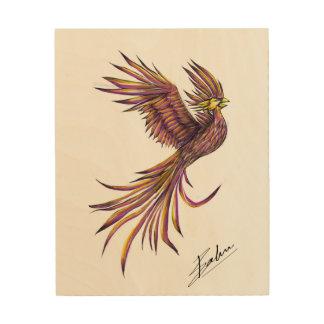 Impresión En Madera Representación artística de una Phoenix en el