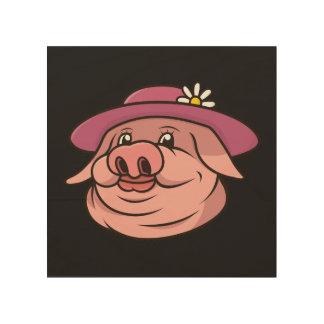 Impresión En Madera Retrato de la señora rosada cerdo