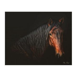 Impresión En Madera Retrato VII del caballo