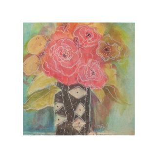 Impresión En Madera Rosas felices