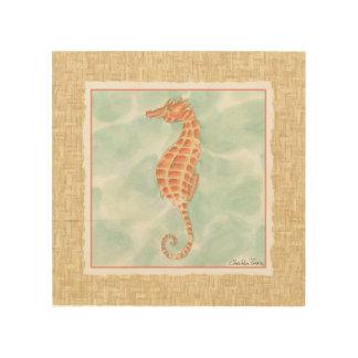 Impresión En Madera Seahorse del naranja del océano