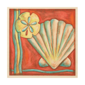 Impresión En Madera Seashells anaranjados rústicos
