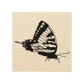 Impresión En Madera Silueta de la mariposa en la madera