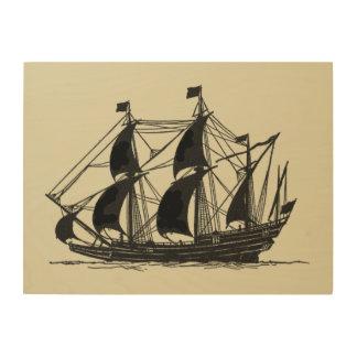 Impresión En Madera Silueta de la nave con las velas Billowing
