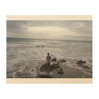 Impresión En Madera Silueta de la playa