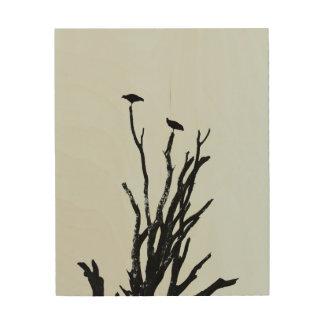 Impresión En Madera Silueta de los pájaros